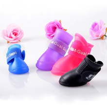 High Quality 4Pcs/ Lot Dog Shoes Dog Candy Colors Boots Waterproof Rubber Pet Rain Shoes Booties Free Shipping