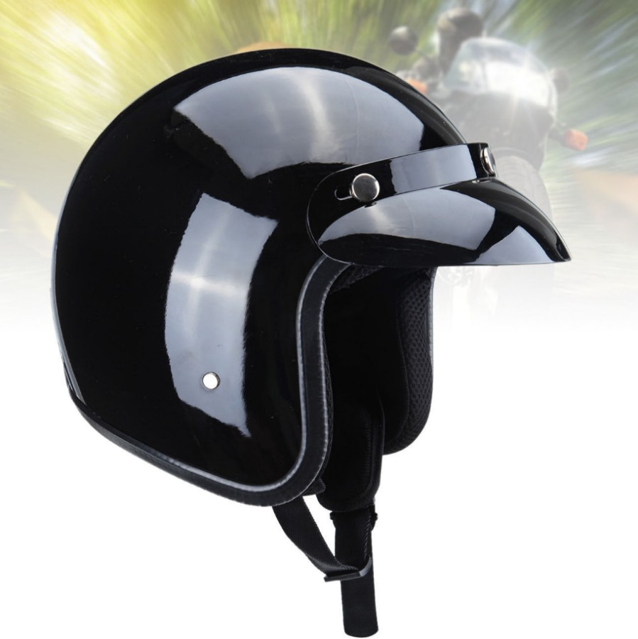 Adult Motorcycle Dot Approved 3/4 Open Face Safety Crash Helmet Gloss Black(China (Mainland))