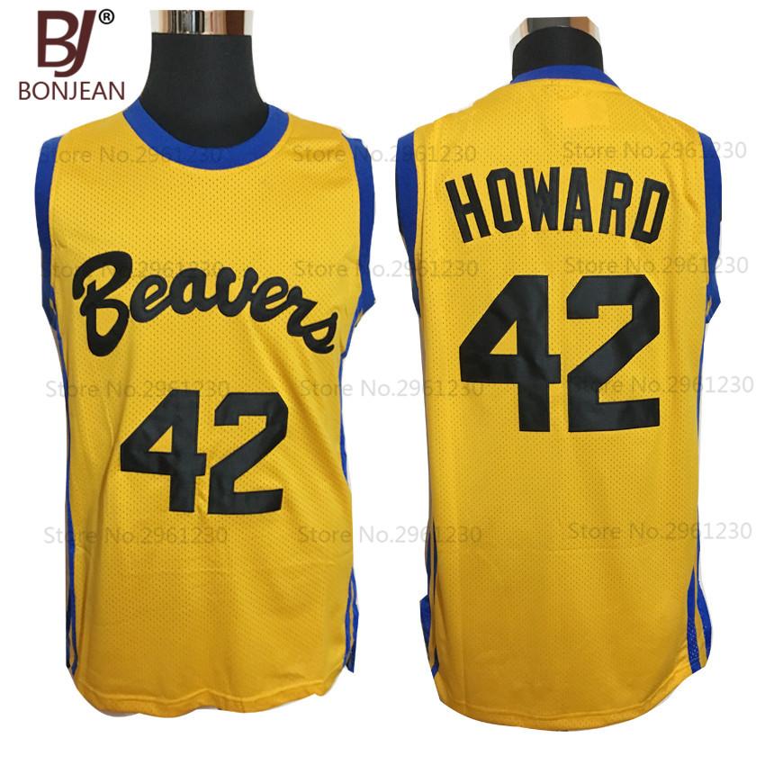 BONJEAN Movies Of Michael J Fox Teen Wolf Jersey #42 Howard Beavers Movie Basketball Jerseys Yellow Stitched Mens Shirts(China (Mainland))
