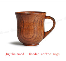 Milk tea coffee Elegant Anti-hot Wooden Wild jujube wood Mugs cute london travel vintage gift teaberries coffe Cup tureen sets