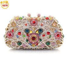 2015 New Year Gift China A Grade Crystal Evening Party Women Clutch Purses Wedding Rhinestones Metal