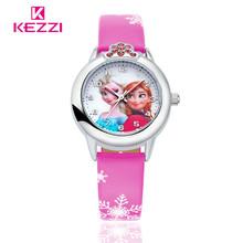 New Cartoon Children Watch Princess Elsa Anna Watches Fashion Girl Kids Student Cute Leather Sports Analog Wrist Watches k1128