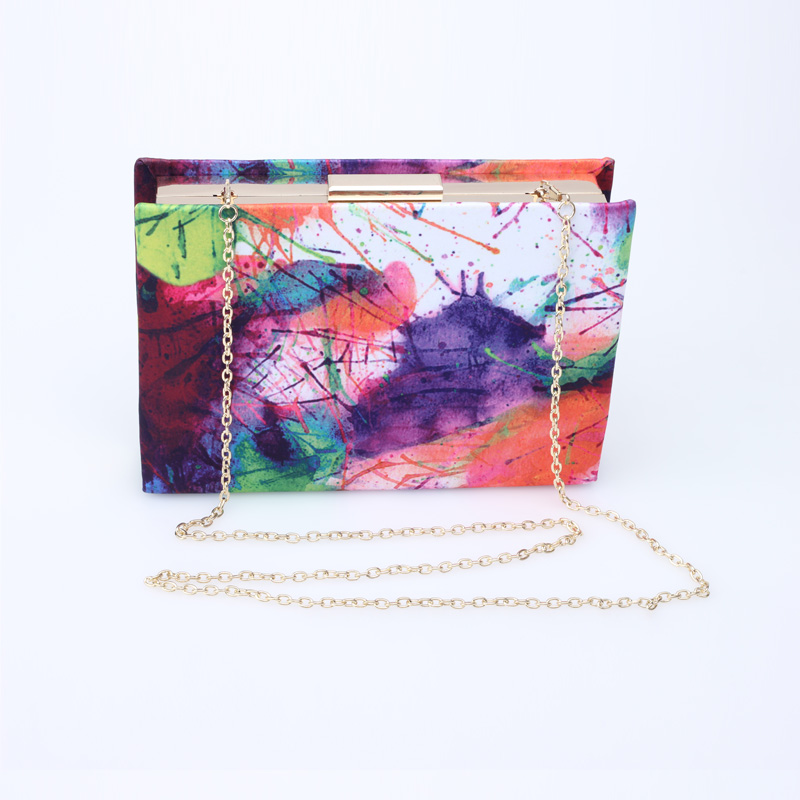 New Fashion Design Women Handbag Colored Graffiti Hard Box Day Clutch Girls Party Evening Bag With Shoulder Chain Clutch Bag<br><br>Aliexpress