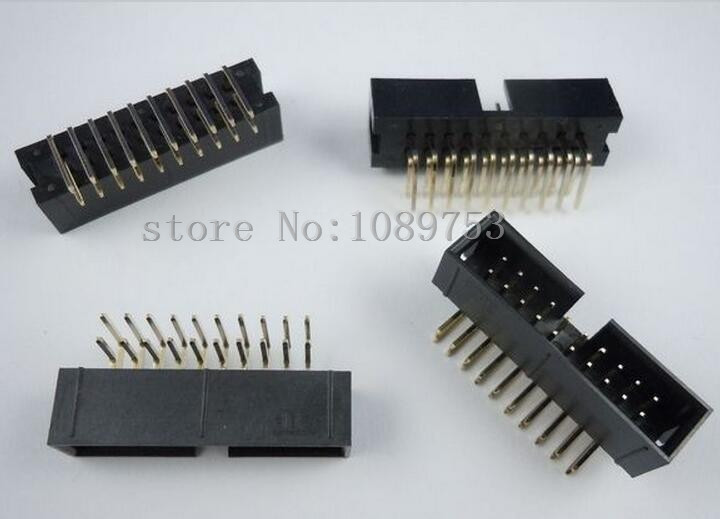 50pcs 2.54mm 2x10 20 Pin Right Angle Male Shrouded PCB Box header IDC Connector<br><br>Aliexpress
