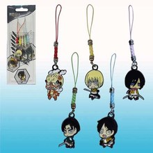 Attack on Titan Keychain Eren Mikasa Armin Rivaille Colossal Titan Figure Sided Pendants Free Shipping