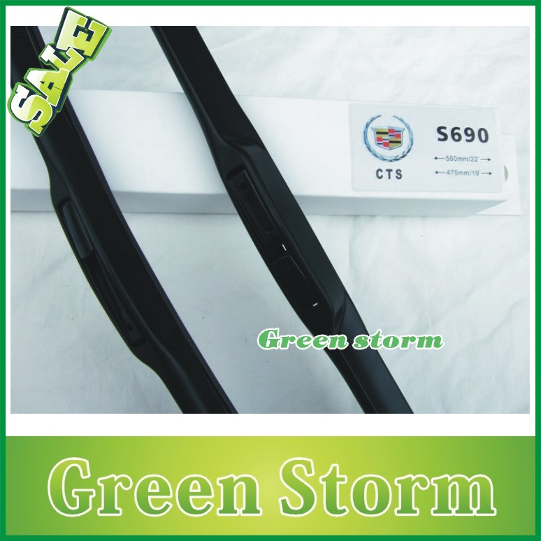 (2pcs/Pair) car wiper blades Cadillac CTS soft silicone Rubber WindShield Wiper Blade Arm - Green Storm Automobile Products co., LTD store