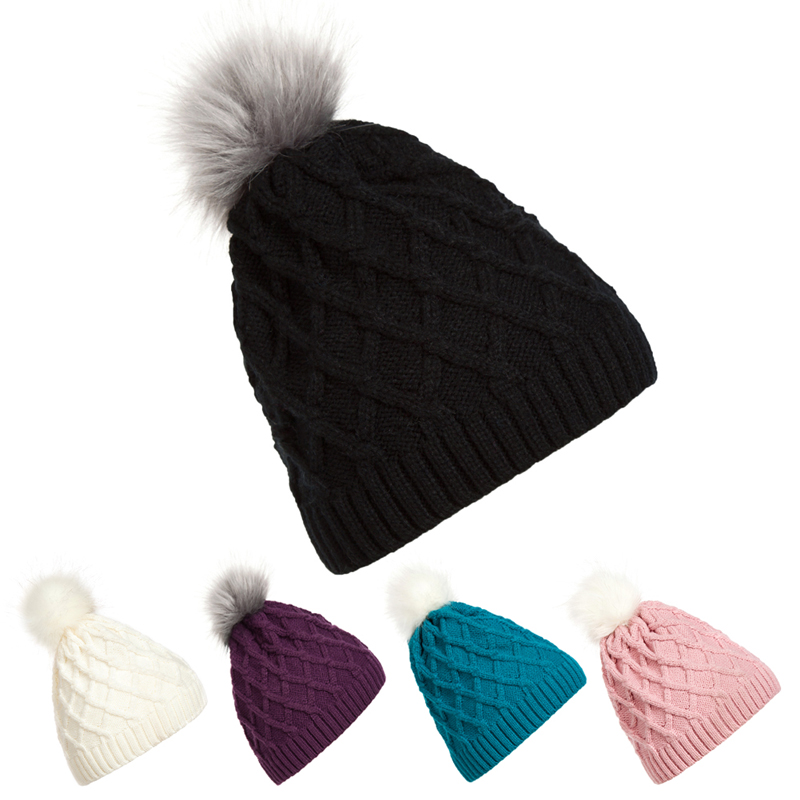 Winter Warm Hot Fashion Lady Skullies Beanies Knit Winter Hat Cap With Faux Fur Ball Women Wool Knitted Fur Hats DM#6(China (Mainland))