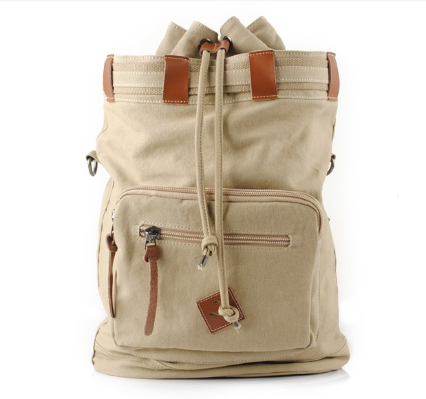 S.C. Cotton Multi-Function Vintage Canvas Leather Hiking Travel Military Backpack Messenger Tote Bag Video Portable Carry Case(China (Mainland))
