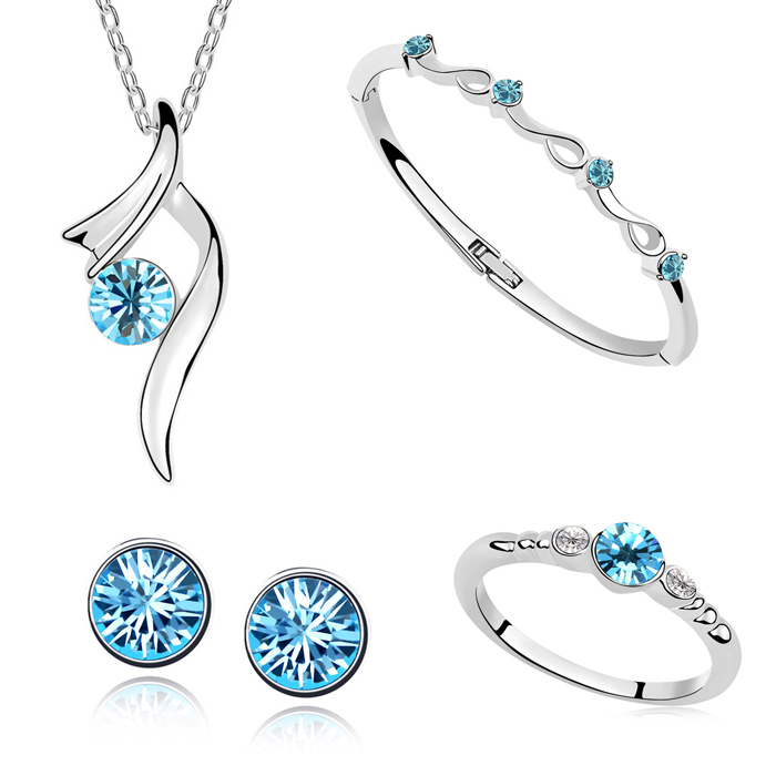 Fashion Bridal Accessories Platinum Plated Retail Austrian Crystal Jewelry Sets,Pendant Necklace/Bangle/Ring/Stud Earrings(China (Mainland))