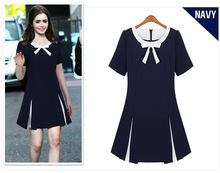 Free shipping 2015 New Arrival Cute A-line Solid Short Regular Natural O-neck Above Knee, Mini Chiffon Bow Dresses