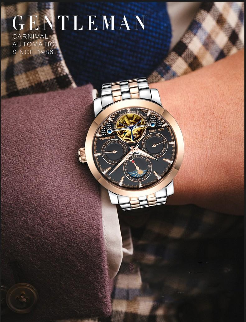Мода tourbillon часы мужчины Moon Phase Нержавеющей стали Автоматические механические Сапфир водонепроницаемый белый часы relogio masculino