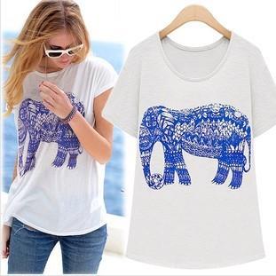 SALE Summer Short-sleeve O-neck Cotton Jersey T-shirt Basic White T Shirts Women Tees Elephant Animal Prints Street Style Loose(China (Mainland))