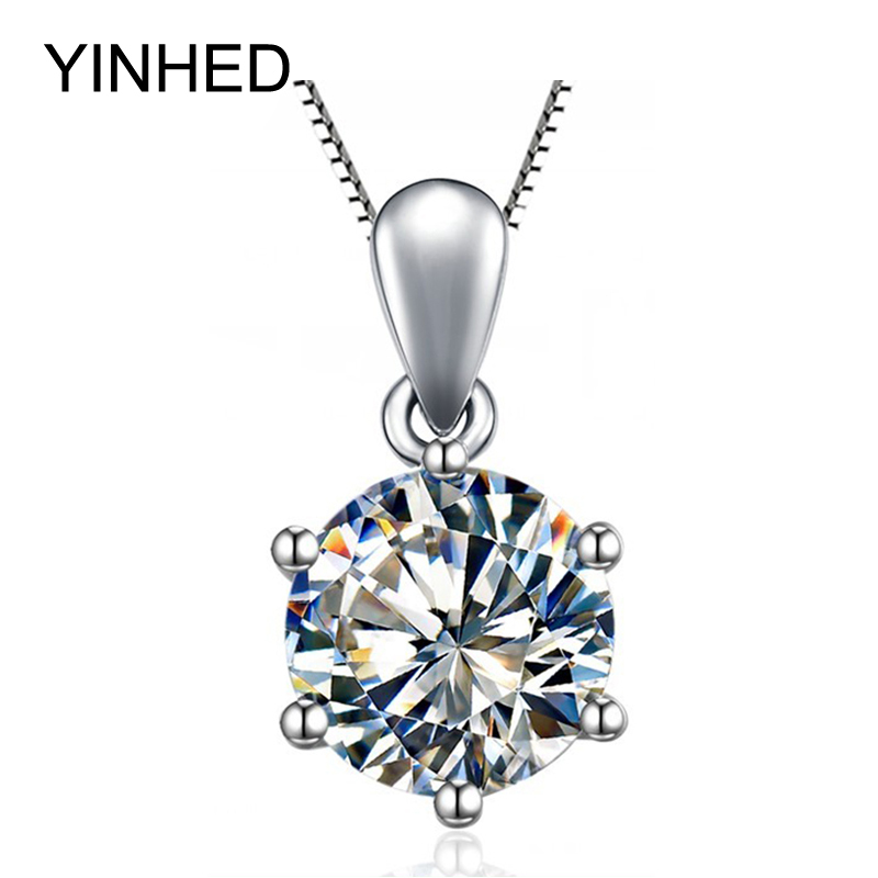 YINHED Classic 6 Claws Heart and Arrows CZ Pendant Necklace with 8mm 2ct Cubic Zirconia 925 Sterling Silver Necklace Women ZN110(China (Mainland))