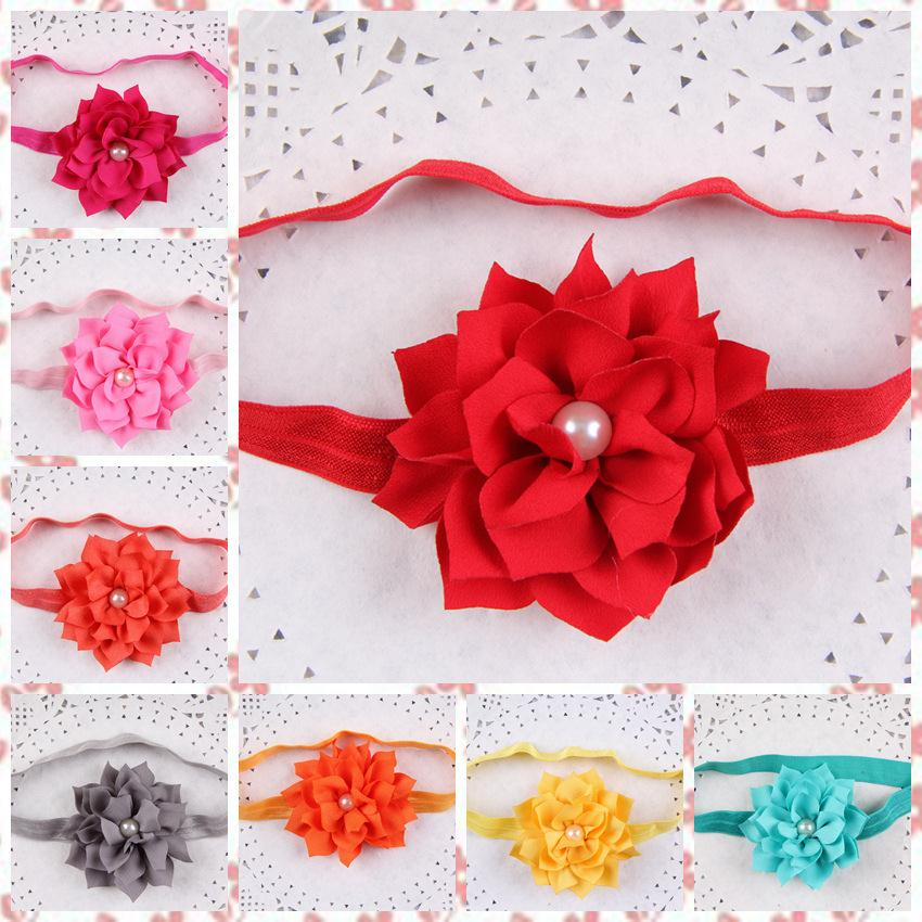 10pcs/lot wholesale new fashion Baby Headband multi-cusp Lotus flower with Pearl trade shop supplies Hair headdress Accessories(China (Mainland))