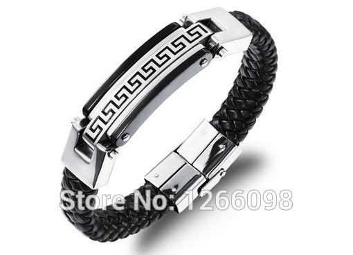 Здесь можно купить  Bracelet Men Casual Great Wall decorative Grain Genuine Leather Silver  316L Stainless Steel Men Bracelet Bangle  Ювелирные изделия и часы