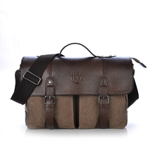 Vintage Crazy Leather Men Bag Cavans With Leather Men HandBag Tactical Military Canvas Shoulder Messenger Bag