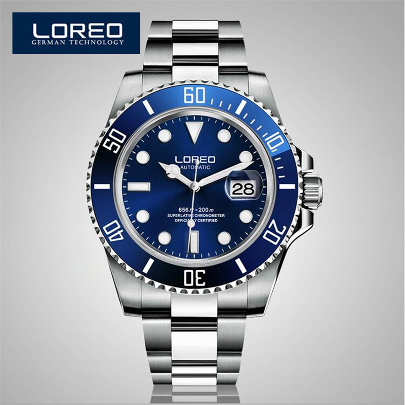 LOREO Automatic Mechanical Movements Watch Men Stainless Steel 200m Waterproof Diver Relogio Feminine Luminous Watch AB2035(China (Mainland))