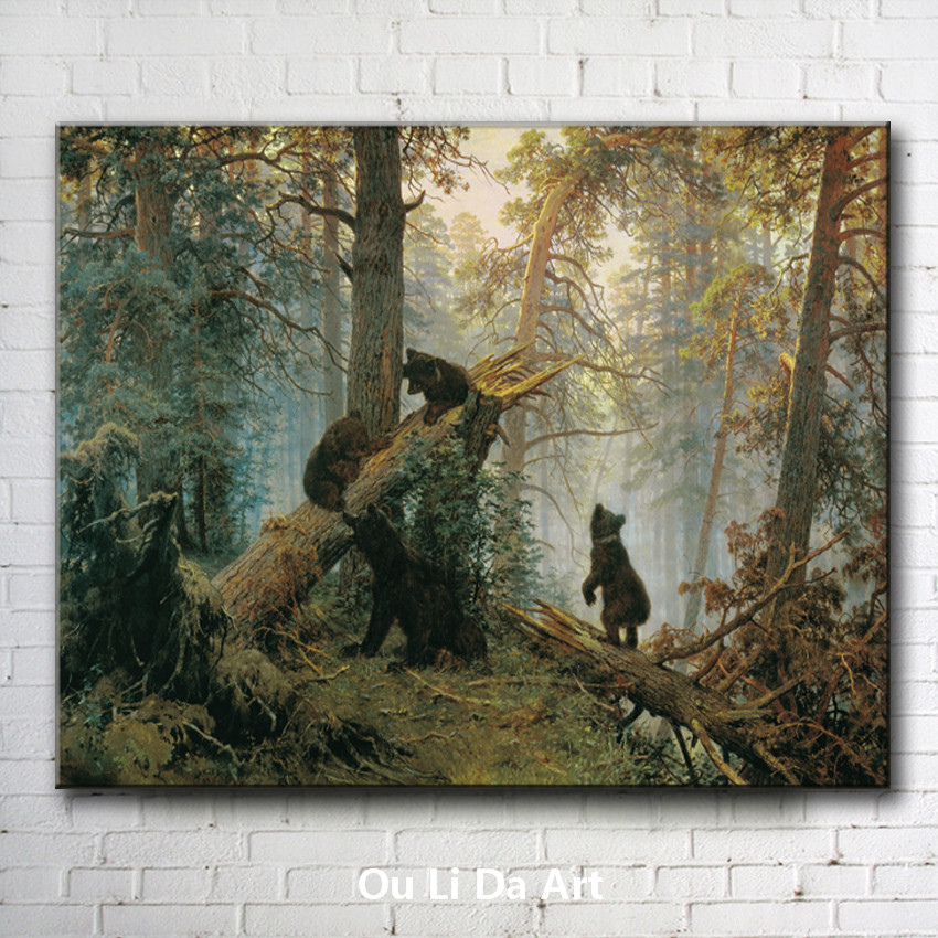 free shipping Russian painter Shishkin black bear forest landscape canvas prints oil painting on canvas wall decoration picture(China (Mainland))