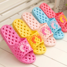 A Pair PVC Non-slip Bathroom Women Slippers Cut-outs Candy Color Home Ladies Slippers House Indoor Slippers Free Shipping  NEW06