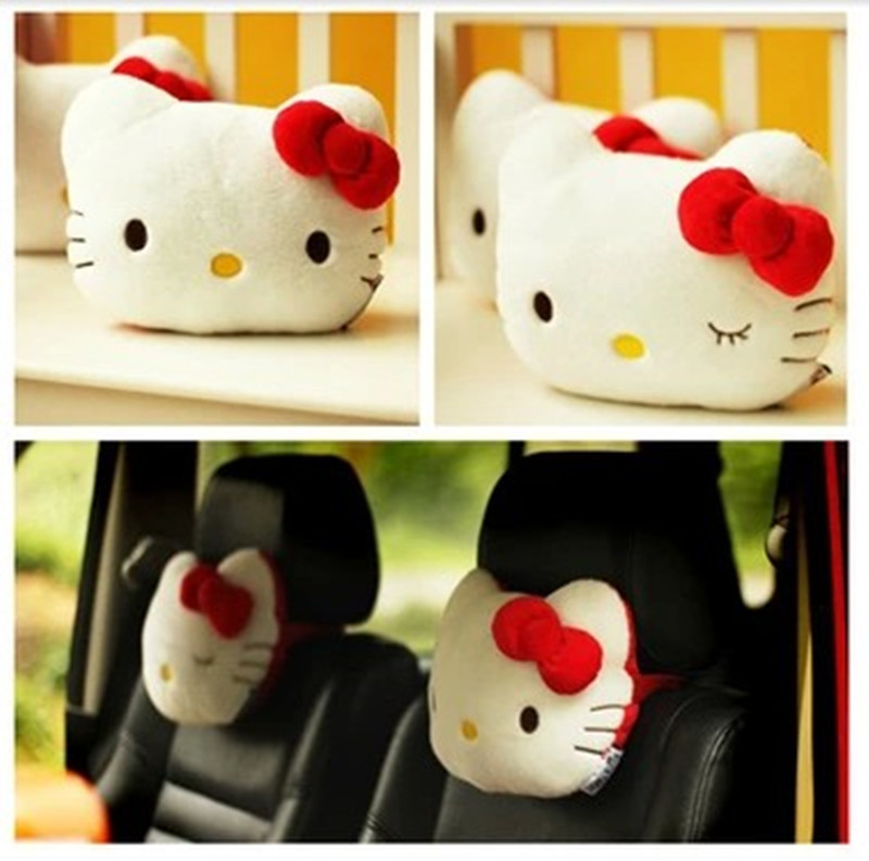 2PCS Free Shipping Cute KT Car Neck Pillow Hello Kitty Car Accessories Cotton Car Neck Pillow Headrest Kid White Pink Red Color(China (Mainland))