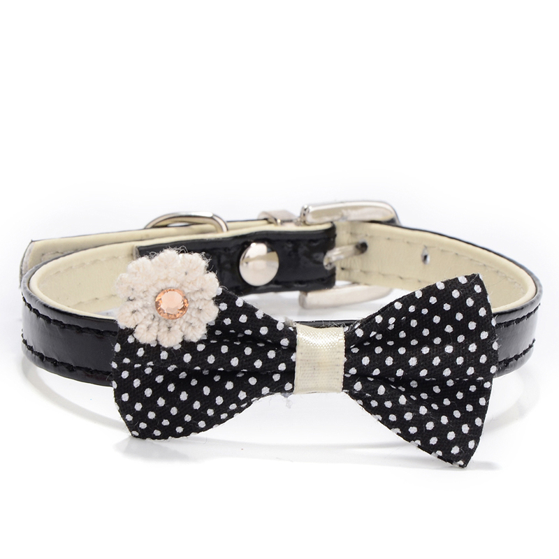 1pcs PU Leather Dog Collar Perro Puppy Pet Collars Cat Pet Accessories For Small Dogs Mascotas Animal Polka Dot Bowknot Black(China (Mainland))