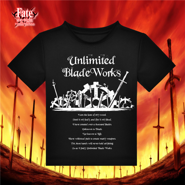 2017 New Clothing Cosplay Anime Fate Unlimited Blade Works Both Men and Women Leisure Round Collar Black Anime T-shirt