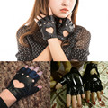Fashion Sexy Women Punk Leather Gloves Driving Bicycle Half Finger Mittens Dancing Ball Party Motorcycle Lady
