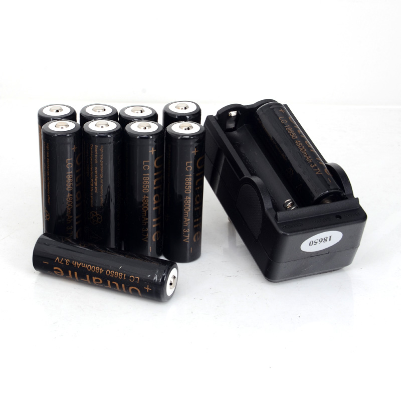 10pcs 18650 3.7V 4800mAh Li-ion Battery rechargeable Battery For Flashlight And Any Others+Charger(China (Mainland))