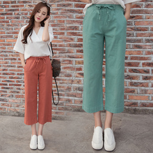 Original Design Wide Leg High Waist Boho Pants Women 2016 Summer Loose Vintage Linen Female Dazzling Pants Capris Wide Trousers