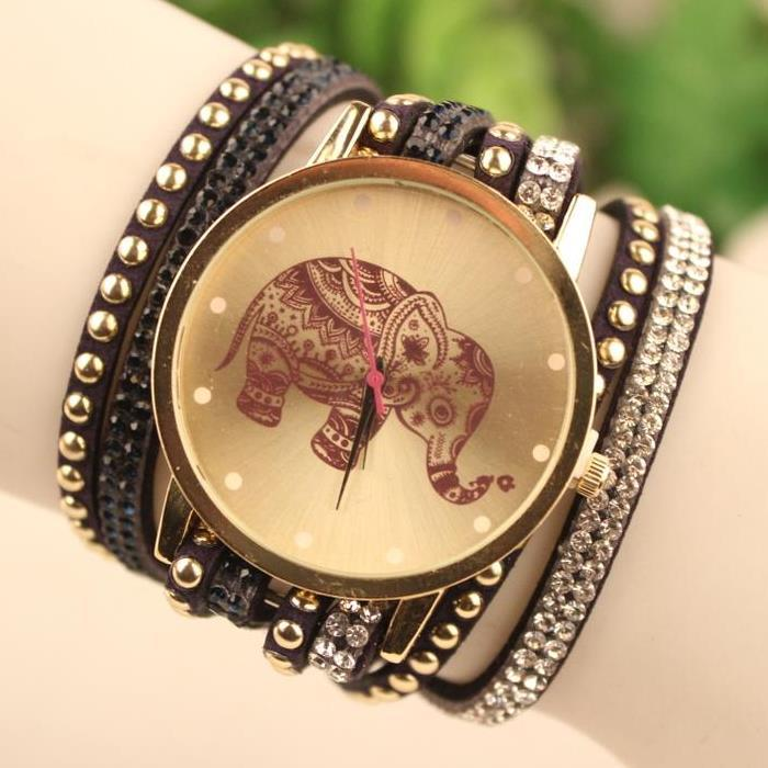 Elephant Quartz watch women watches Rivets wristwatch Luxury Brand relojes mujer relogio feminino montre femme women's watch(China (Mainland))
