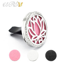 Buy 35mm magnet stainless steel lotus diffuser car aromatherapy locket free pads essential oil car diffuser locket trendy jewelry for $5.40 in AliExpress store