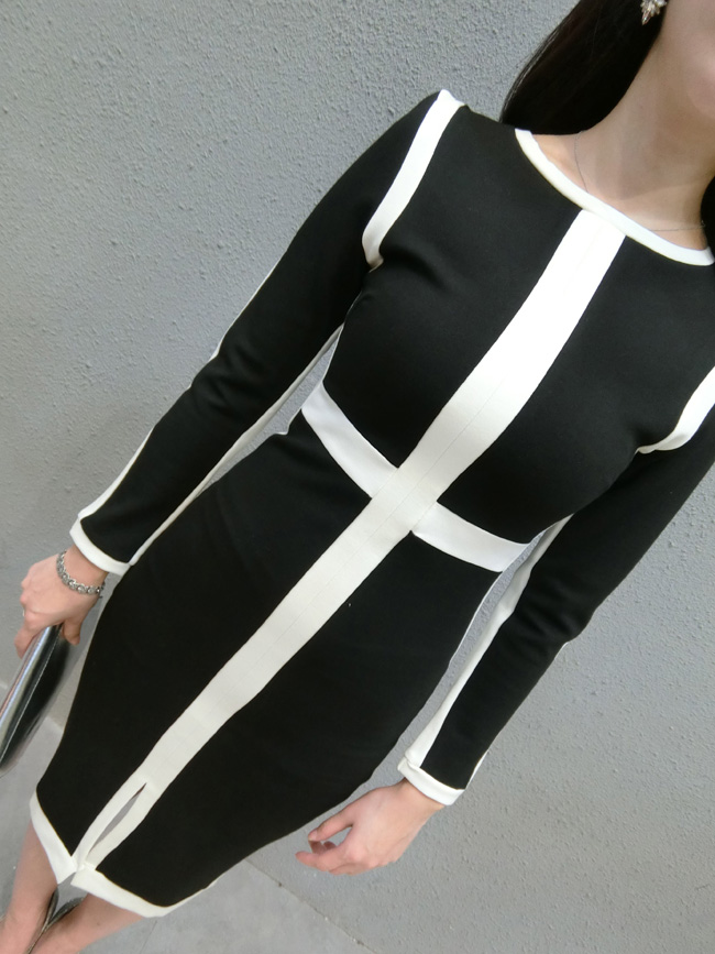 Fashion autumn and winter one-piece dress black and white color block decoration o-neck medium-long placketing ladies elegantОдежда и ак�е��уары<br><br><br>Aliexpress