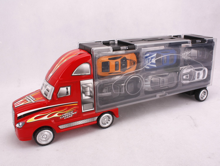 Genuine hand car model toy car educational toy truck with 12 alloy car(China (Mainland))