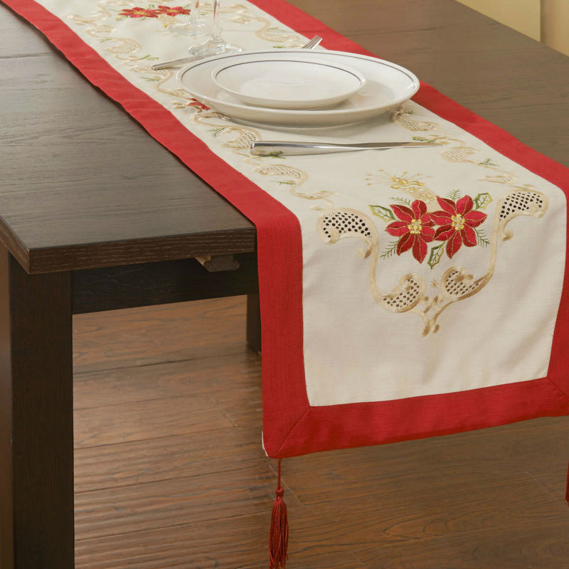 """Holiday Red! Christmas Decoration! Embroidery Tablelinen/ RUNNERS 15X43"""" ! Free shipping(China (Mainland))"""