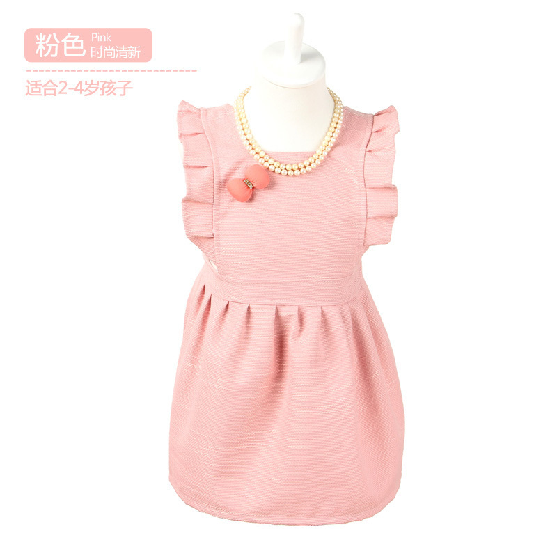 100pcs/lot wholesale adjustable thicken cotton kids solid cute child cooking apron with bowknot 4 color(China (Mainland))