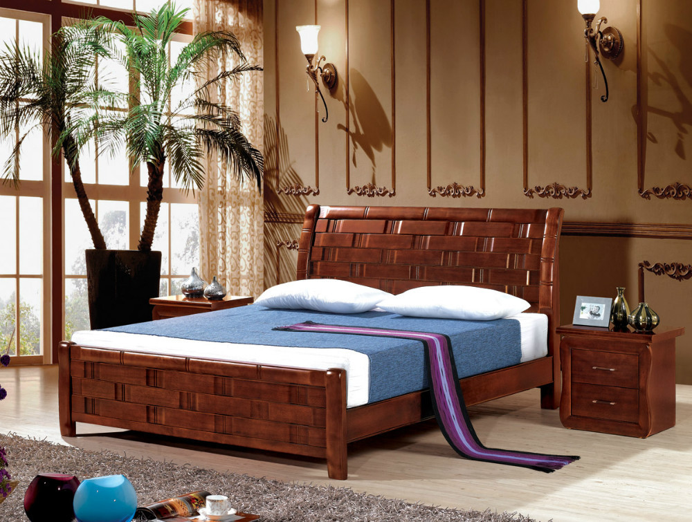 Double Rubber Wood Bed Fashionable Design High Quality Wooden Bed Furniture Manufacturer