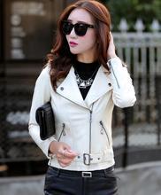 Autumn leather clothing female short leather coats slim fashion women's leather jacket motorcycle leather green,white,red..(China (Mainland))