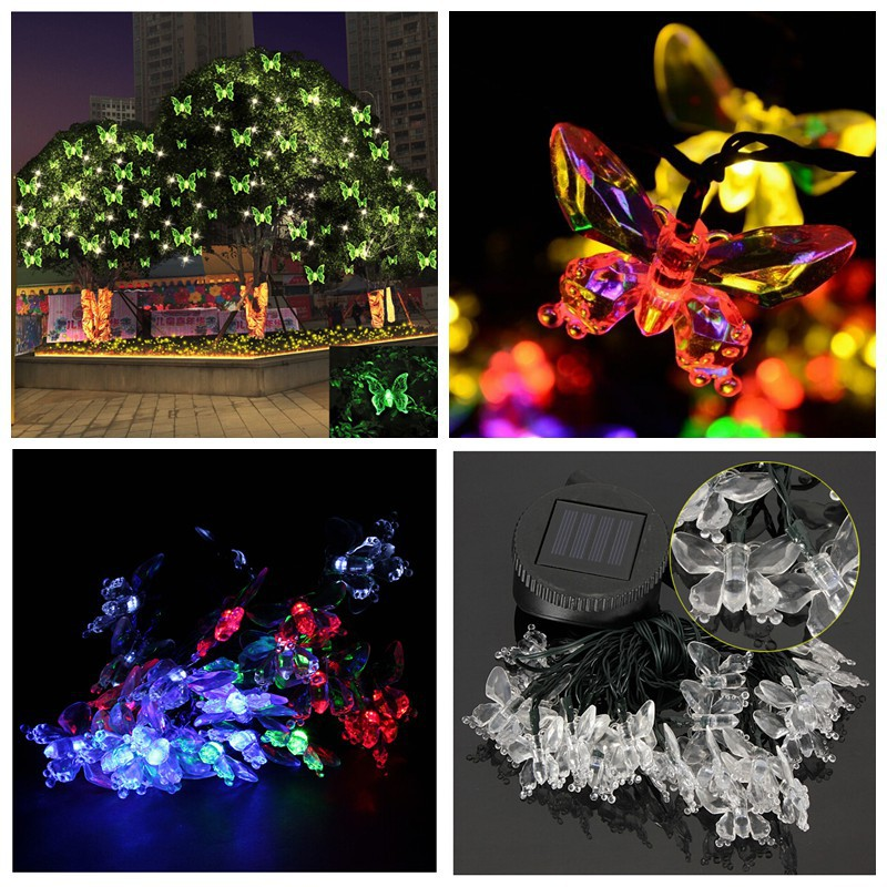 30 LED Solar Butterfly String Lights Outdoor Garden decorative lights LED luminous butterfly Christmas Party Festival Lamp RGB(China (Mainland))