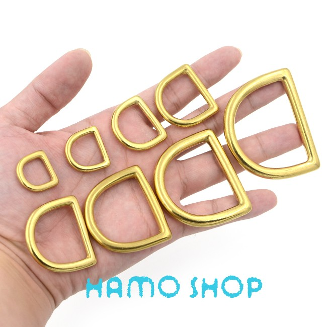 5pcs 16mm Metal D Rings Buckle Seamless Brass Hook Loop Strap Webbing  Shackle Backpack - us523