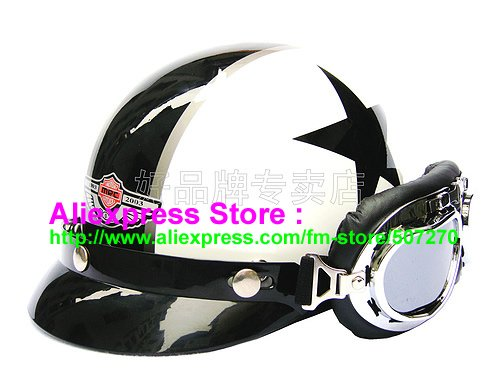 P.39 Fashionable ABS Half Vespa Cycling Half Face Motorcycle White # Black Star Helmet & UV Silver Goggles SIZE M , L , XL(China (Mainland))