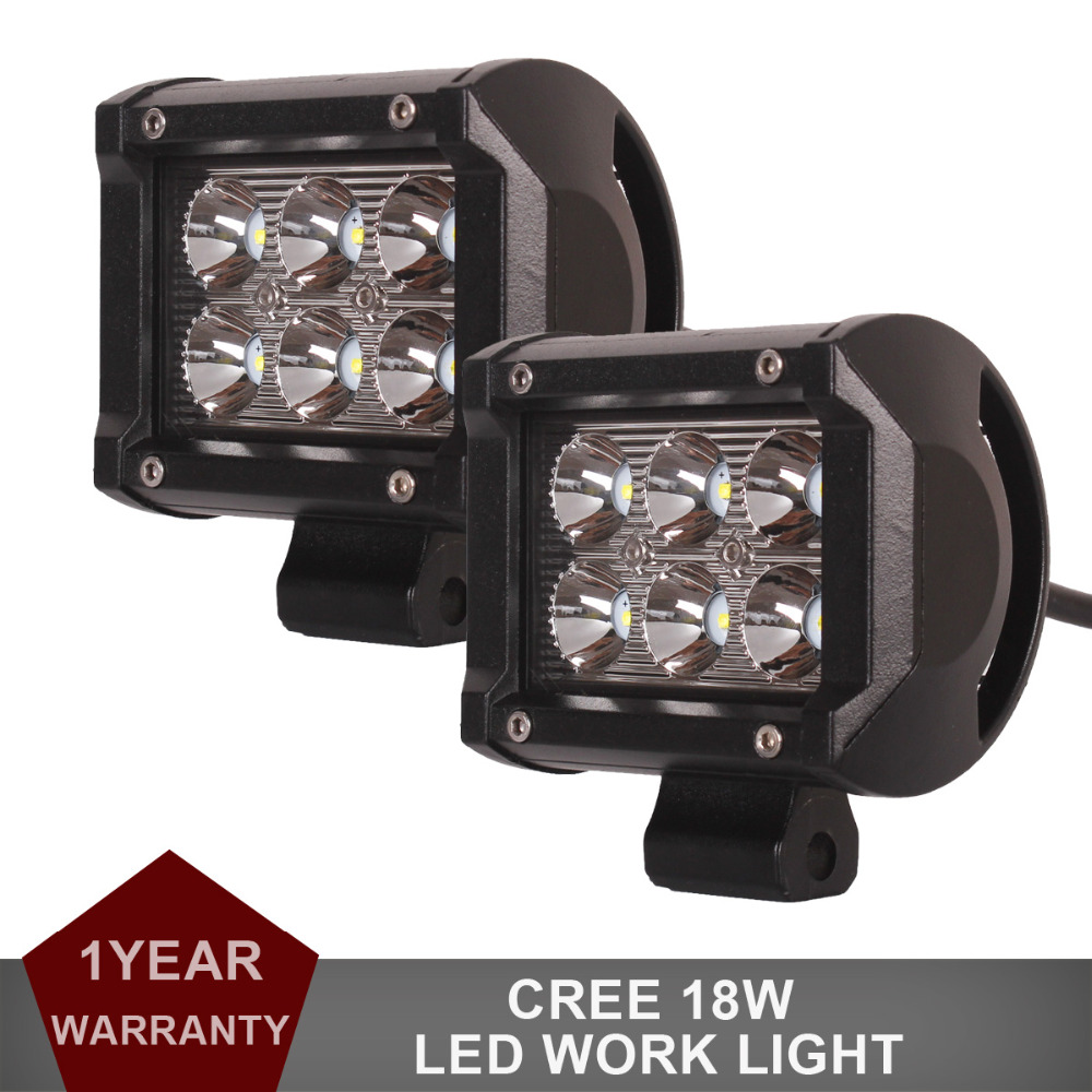 1 Pair CREE 18W OFFROAD LED WORK LIGHT BAR 4 INCH for CAR AUTO TRUCK MOTORCYCLE SPOT BEAM DRIVING FOG LAMP ATV 4WD SUV TRAILER(China (Mainland))