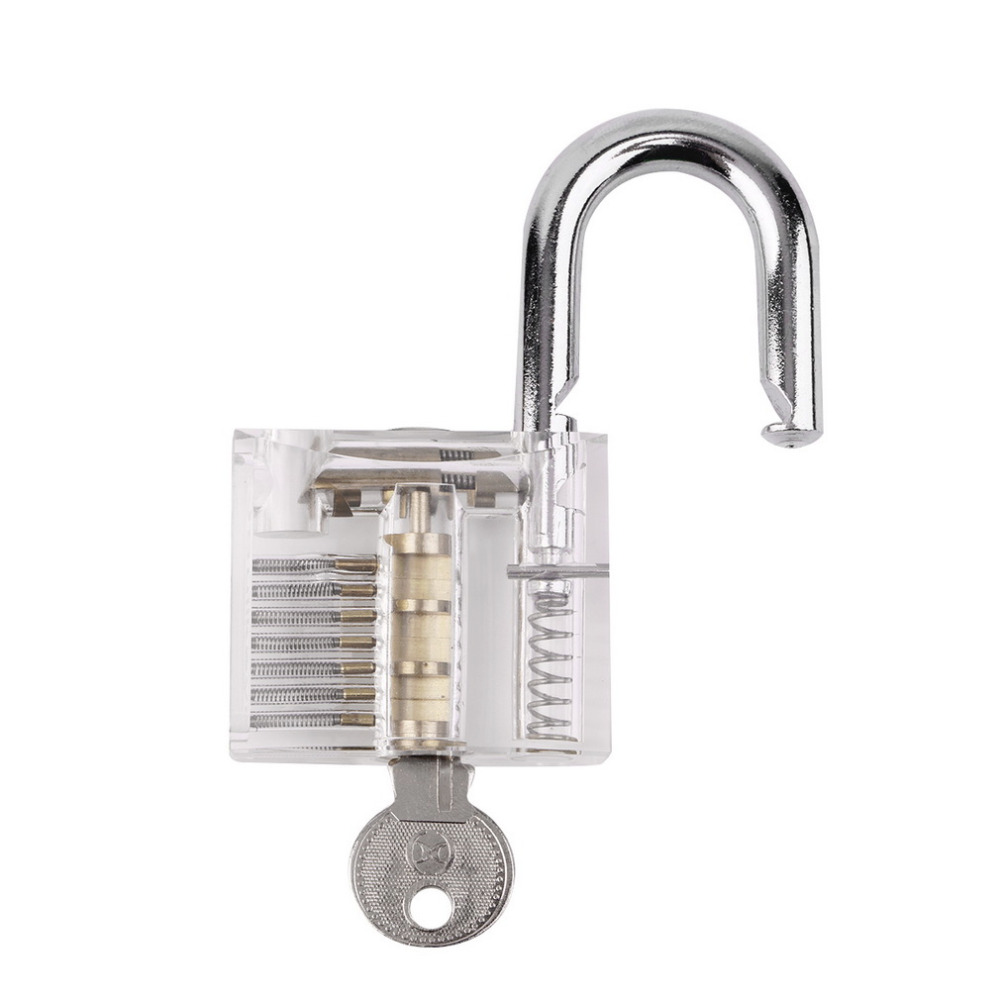 1Set 2016 New Arrival Transparent Pick Cutaway Visable Inside View Padlock Lock For Lock smith Tools Practice Training Skill(China (Mainland))