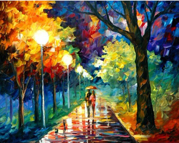 Frameless picture Digital oil painting colored drawing 4050 street light paint by number kits unique gift home decor(China (Mainland))
