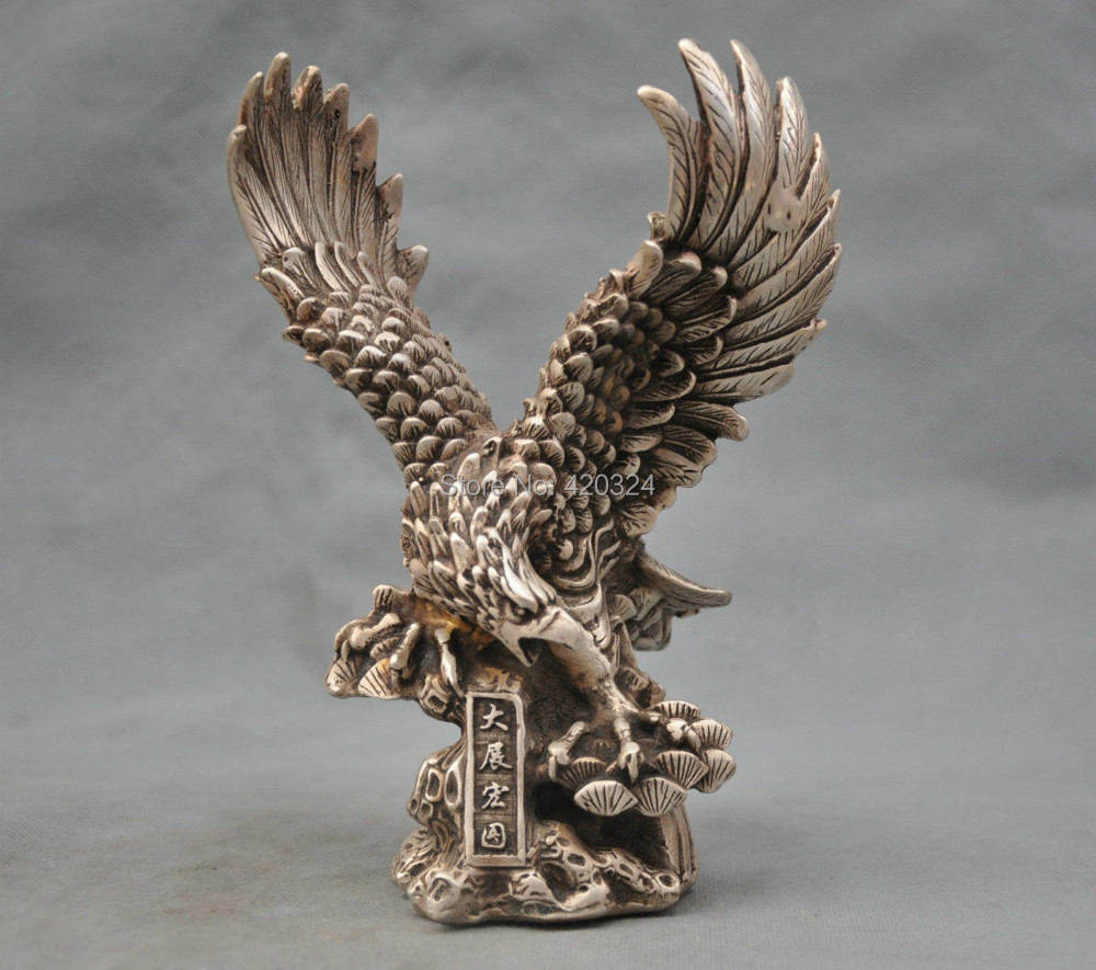 8'' China Silver Bronze Hawk Eagle Bring Luck To Career Bronze Sta Statue Gilt Native copper Old Silver Marble Art bronze(China (Mainland))