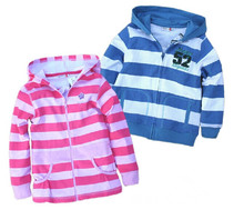 100% cotton 2014 spring child  zipper hoodie long-sleeve stripe sweatshirt fleece awesome(China (Mainland))
