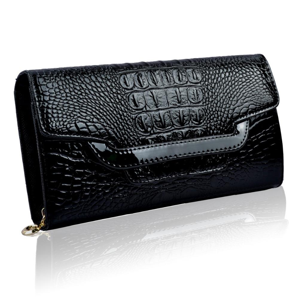 fashion patent leather crocodile ladies clutch purse high