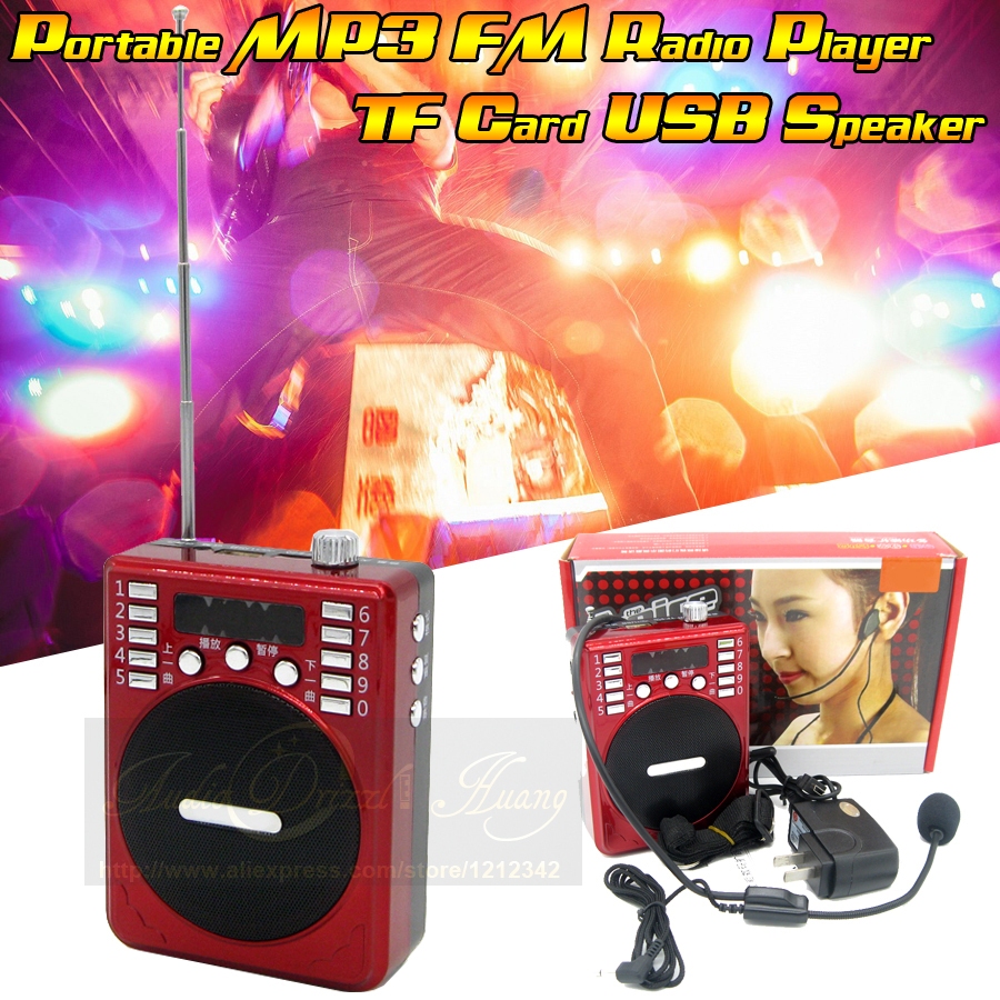 25W Mini Portable Waist Band PA Amplifier Loudspeaker With Microphone Megaphone USB Speaker FM Radio MP3 For Tour Guide Teaching(China (Mainland))