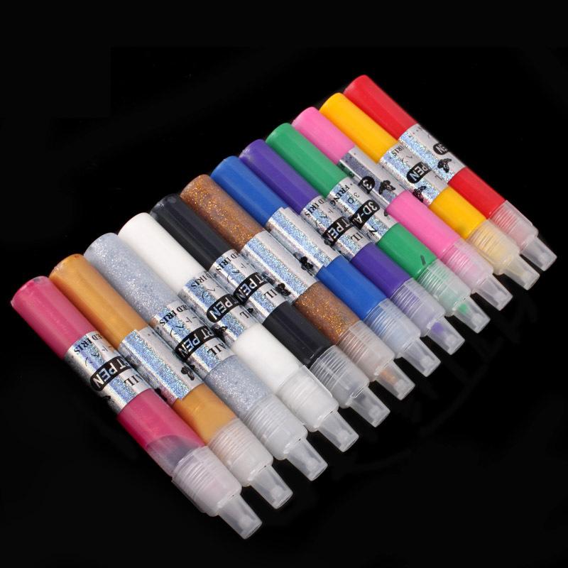 12 Colors Professional Beautiful 3D Nail Art Paint Drawing Pen Acrylic Nail Art Polish Carved Pen Kit Set Free Shipping(China (Mainland))