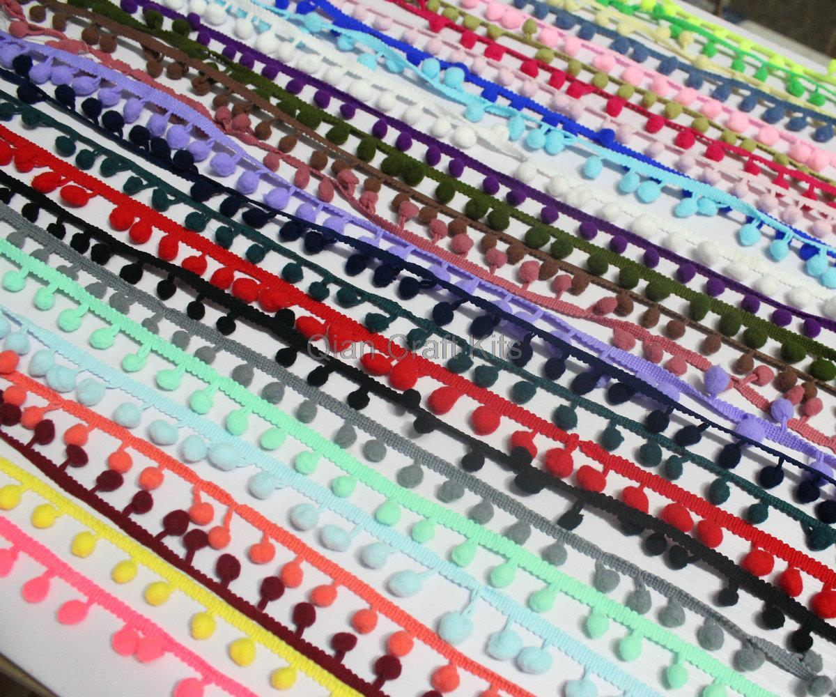 90 yards Regular Pom Pom fringe Trim pom size 10mm mix colors or Choose Your Color<br><br>Aliexpress