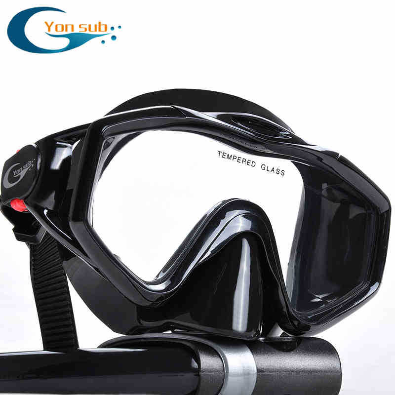 silicone tempered glass professional Scuba Diving Equipment Diving Mask + Dry Snorkel Set black(China (Mainland))